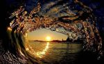 View of the  sunset from inside the wave.
