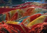 Danxia landform, Zhangye, Province of Gansu. The color is the result of an accumulation for millions of years of red sandstone and other rocks.